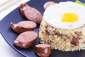 Ham, Egg Fried Rice — Stock Photo