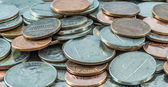 Close-up of US coins, quarters, dimes, nickels and pennies  — Stock Photo