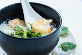 Boiled rice with shrimp  — Stock Photo