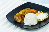 Sunny side up egg and beef curry rice, Japanese cuisine — Stock Photo