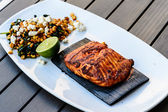 Grilled salmon with cedar plank  — Stock Photo