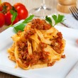 Stock Photo: Noodels with meat sauce