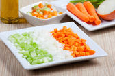 Celery, carrots, onion and vegetables — Stock Photo