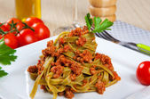 Noodels with meat sauce — Stock Photo