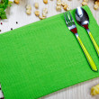Stock Photo: Green napkin with flatware