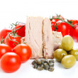 Tomato sauce ingredients, olives and tuna — Stock Photo #40565665