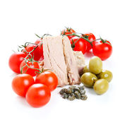 Tomato sauce ingredients, olives and tuna — Stock Photo