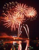 Fuochi d'artificio nel porto di lampedusa — Foto Stock