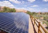 Solar Panels in desert — Stock Photo