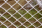 Fence with hoarfrost in the winter. — Stock Photo