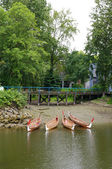 Four rowboats in False Greek,Vancouver , Canada — Stockfoto