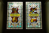 Stained glass on the parliament building, Victoria, British Colu — Stock Photo