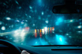 Winter driving - night driving - caution — Stock Photo