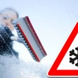 Stock Photo: Winter driving - womscraping ice from windshield