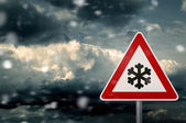 Winter driving - risk of snow and storm - caution — Foto Stock