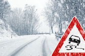 Winter driving - snowfall on a country road with warning sign — Stockfoto