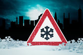 Caution snow — Stock Photo