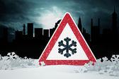 Caution snow — Stock Photo