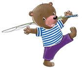 Bear go fishing — Stock Vector