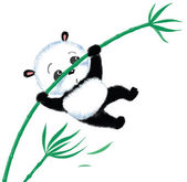 Jumping Panda on bamboo — Stock Vector