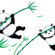 Jumping Panda on bamboo — Stock Photo #42395351