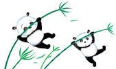 Jumping Panda on bamboo — Stock Photo