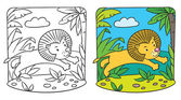 Little lion coloring book — Stock Vector