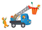 Three funny workers and machine-lift — Stock Vector