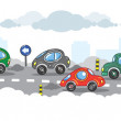 Small funny cars on the urban city road. — Stock Vector