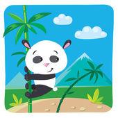 Little panda on bamboo — Stock Vector