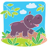 Children vector illustration of little hippo — Stock Vector
