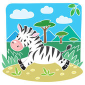 Children vector illustration of Little Zebra — Stock Vector
