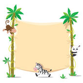 Banner on two palm tree with small funny animals — Stockvector