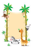 Banner on two palm tree with small funny animals — Stock Vector