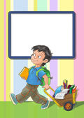 Template greeting card with schoolboy — Stock Photo