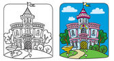 Fairy palace. Coloring book — Stock Vector