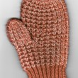 Scan of Red and White Childs Knit Winter Mitten — Stock Photo