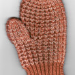 Scan of Red and White Childs Knit Winter Mitten — Stockfoto