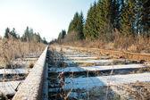 Hoarfrost. Railway cross winter forest. — Stock Photo