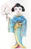 Geisha. Japanese woman in thaditional clothing — Stock Photo