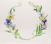 Frame from violets. Wedding drawings. Water color painting. — Stock Photo