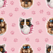Kitten and puppy background. Seamless Pattern. — Stock Photo #42004249