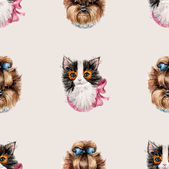 Kitten and puppy background. Decoration with animals, hand-drawing. Seamless Pattern. — Stock Photo