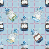 Bank for spices on the blue background in a section. — Stok fotoğraf