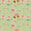 Wedding seamless green. Pattern from roses. — Stock Photo