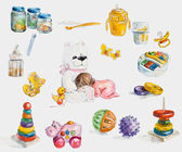 Set of toys and accessories for baby girl. — Stock Photo
