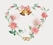 Wedding frame with rings, bells & roses. Heart roses. — Stock Photo