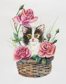Kitten on the basket with flowers. Roses inside basket. — Stock Photo