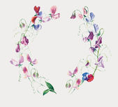 Sweet pea flowers. Circle frame from flowers. — Stock Photo