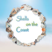 Background with seashells making a frame for any text. — Stock Photo